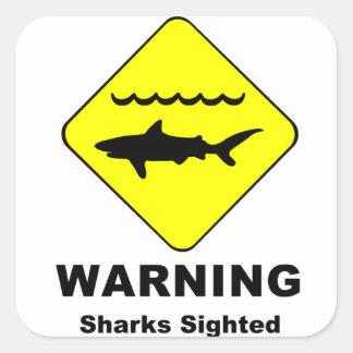 Warning Sharks Sighted Symbol Square Sticker