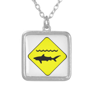 Warning Sharks Symbol Silver Plated Necklace