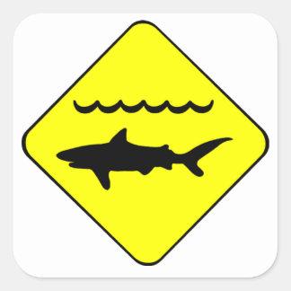Warning Sharks Symbol Square Sticker