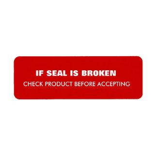 Warning  Shipping Label