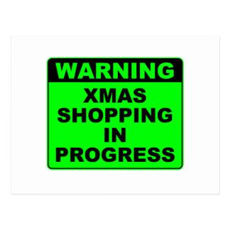 Warning, Shopping in progress. Postcard