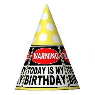 Warning Sign Birthday Message Party Hat