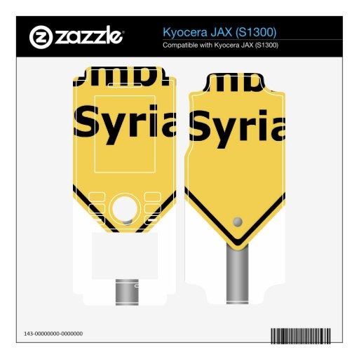 Warning Sign Bombing Syria Skins For Kyocera JAX