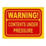Warning Sign Contents Under Pressure Design Post Cards