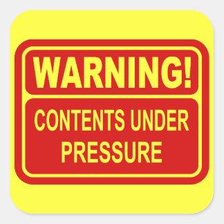 Warning Sign Contents Under Pressure Design Square Sticker