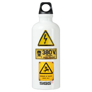 Warning Sign - Danger - High Voltage Aluminum Water Bottle