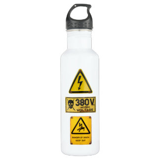 Warning Sign - Danger - High Voltage Stainless Steel Water Bottle