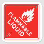 Warning Sign Flammable Liquids Fire Safety Sign Square Sticker