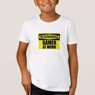 Warning Sign Gamer At Work Funny T-Shirt