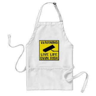 Warning Sign- Live Life Own Risk- Yellow Black Aprons