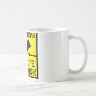 Warning Sign- Live Life/ Own Risk- Yellow/ Black Classic White Coffee Mug