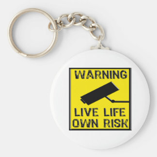 Warning Sign- Live Life/ Own Risk- Yellow/ Black Keychains