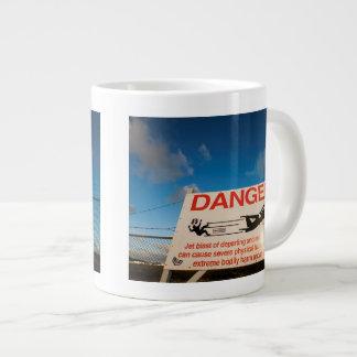 Warning sign near St. Maarten Airport, Large Coffee Mug