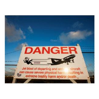 Warning sign near St. Maarten Airport, Postcard