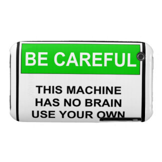 Warning Sign No Brain iPhone 3 Cover