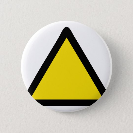 warning sign pinback button