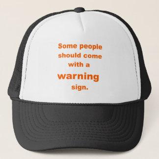 warning sign trucker hat