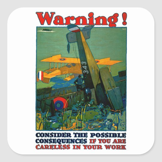 Warning! Square Sticker