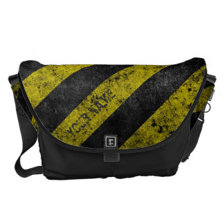 Warning Stripes Customizable Messenger Bag