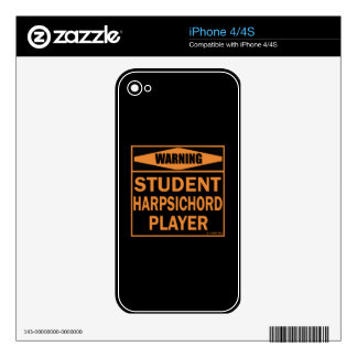Warning! Student Harpsichord Player! Decal For iPhone 4S