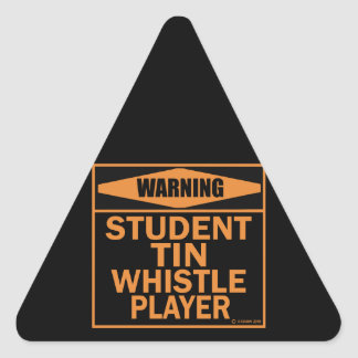 Warning! Student Tin Whistle Player! Triangle Sticker