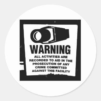 Warning Surveillance Sign Round Stickers