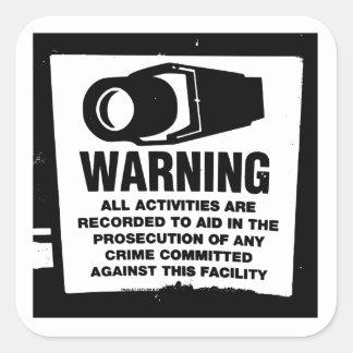 Warning Surveillance Sign Square Sticker