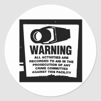 Warning Surveillance Sign Round Sticker