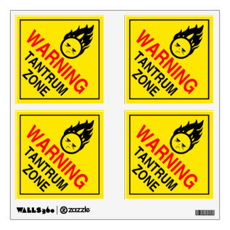 WARNING:  Tantrum Zone Wall Decal
