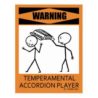 Warning Temperamental Accordion Player Postcard
