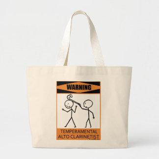 Warning Temperamental Alto Clarinetist Large Tote Bag