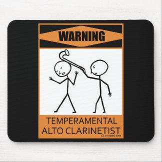 Warning Temperamental Alto Clarinetist Mouse Pad