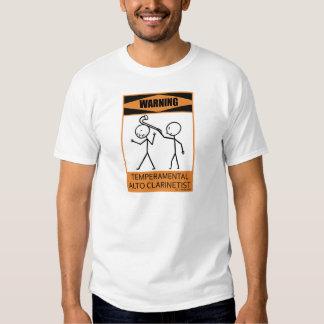 Warning Temperamental Alto Clarinetist Tee Shirt