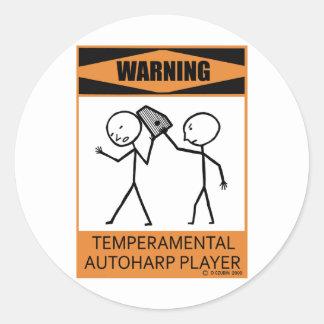 Warning Temperamental Autoharp Player Classic Round Sticker