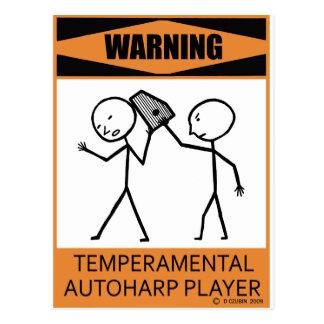 Warning Temperamental Autoharp Player Postcard