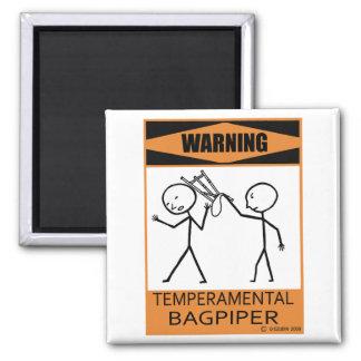 Warning Temperamental Bagpiper Magnet