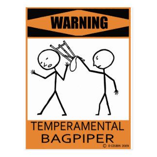 Warning Temperamental Bagpiper Postcard