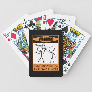 Warning! Temperamental Bari Sax Player Playing Cards