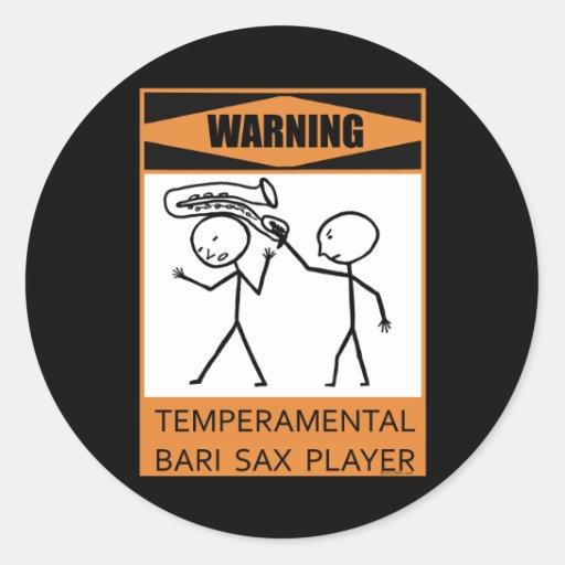 Warning! Temperamental Bari Sax Player Stickers
