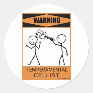 Warning Temperamental Cellist Classic Round Sticker