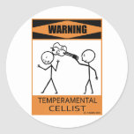 Warning Temperamental Cellist Stickers