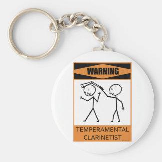 Warning Temperamental Clarinetist Basic Round Button Keychain