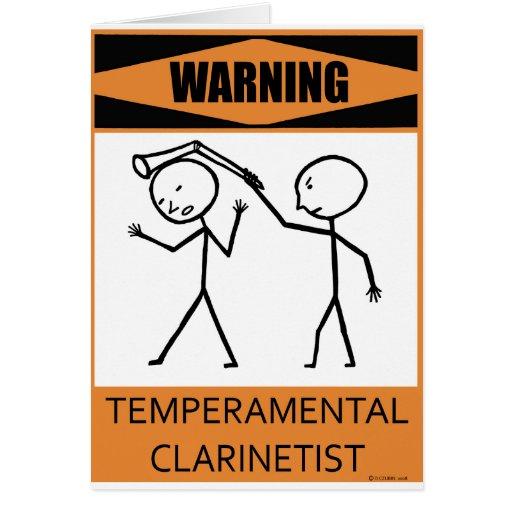 Warning Temperamental Clarinetist Card
