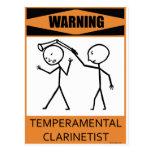 Warning Temperamental Clarinetist Postcard
