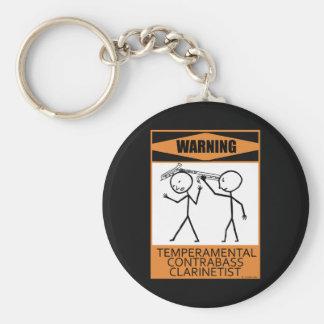 Warning Temperamental Contrabass Clarinetist Keychain