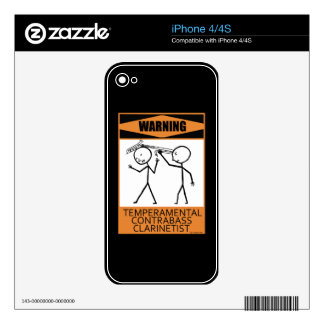 Warning! Temperamental Contrabass Clarinetist Decal For iPhone 4