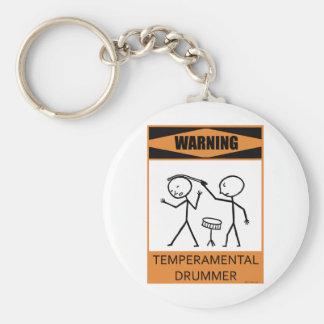 Warning Temperamental Drummer Keychain
