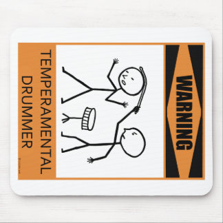 Warning Temperamental Drummer Mouse Pad
