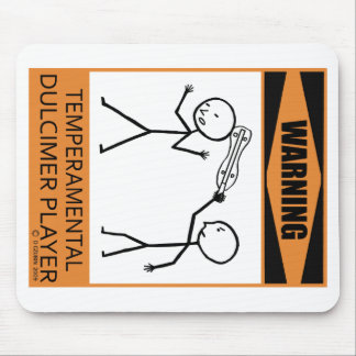 Warning Temperamental Dulcimer Player Mouse Pad