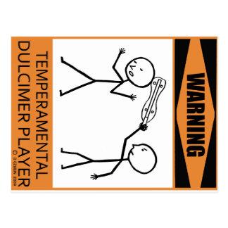 Warning Temperamental Dulcimer Player Postcard